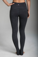 High Waist Pocket Yoga Tight in Charcoal Grey back view