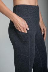 Dark Grey Compressive Activewear Bottoms with Side Pockets