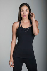 Black Double Strap Yoga Tank with Grommet Detailing