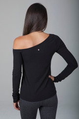 Black Off The Shoulder Long Sleeve Top back view