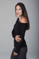 One-Shoulder Long-Sleeve Top in Black
