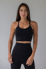 Black Yoga Crop Top Thin Strap front view