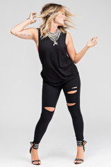 Kathryn Budig Black Cutout Leggings and Top Going Out Outfit