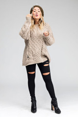 Sweater and Slashed Leggings Cold Weather Outfit Kathryn Budig