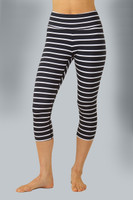 High Waist Black and White Striped Yoga Capri front view