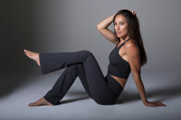 Heather Grey Bootcut Pants and Crop Top Yoga Outfit