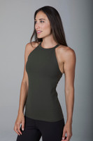 Army Green High Neck Tank Top Halter workout top