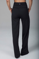 Black Wide Legged Activewear Bottoms back view