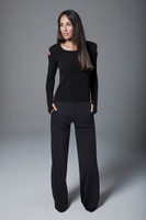 Black Wide Leg Pant and Long-Sleeve Yoga Outfit