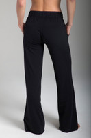 Soft Wide-Leg Black Terry Sweats back view