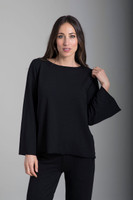 French Terry Scoop Neckline Sweatshirt in Black front view