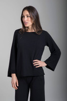 Activewear Sweatshirt in Black with Scoop Neckline and Soft Fabric