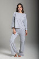 Light Grey Wide Sleeve Scoop Neck Sweatshirt and Sweatpant Outfit