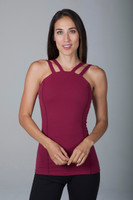 Long & Lean Double Strap Cami in Red Brandy front view