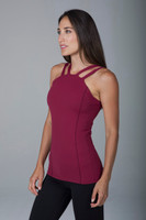 High Coverage and Supportive Yoga Tank in Deep Red Brandy