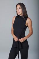 High Coverage Waist Tie Black Yoga Shirt