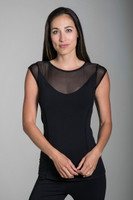 Black Short Sleeve Top with Built-In Shelf Bra front view