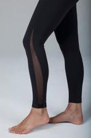 Elegant Mesh Side Detail Black Yoga Tight side view