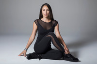 Black Crescent Mesh Tight and Cap Sleeve Yoga Outfit