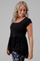 Black Cap Sleeve Yoga Shirt with Mesh Flare Detail