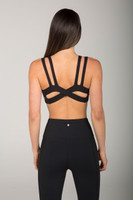 Black Strappy Criss-Cross Back Sports Bra back view