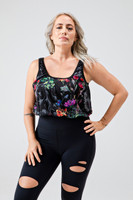 Scoop Neck Thick Strap Yoga Crop Top in Vibrant Floral Print