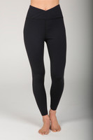 Wrap Waist Black Yoga Tights front view