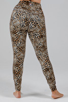High Waist Wild Leopard Print Yoga Tights back view