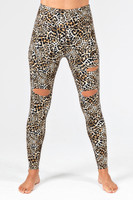 Cutout Yoga Leggings Animal Print front view