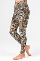 Slashed 7/8 Yoga Legging in Leopard Print