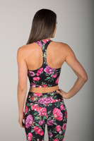 Racerback Tank Top Floral Pattern back view
