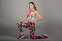 Floral Pattern Crop Top and Legging Outfit