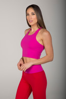 Hot Pink Thick Strap Cropped Yoga Tank