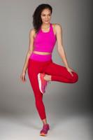 Fuchsia Crop Top and Fuchsia Ruby ColorBlock Leggings Set yoga pose