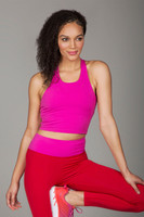Fuchsia Pink Yoga Crop Top with Built-In Bra