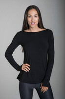 Perfect Black Thumbhole Long Sleeve Yoga Tee front view
