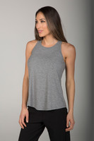 Long and Loose Yoga Racerback Tank Top in Heather Grey