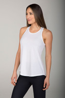 High Coverage Yoga Tank Top in White
