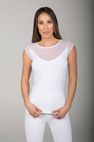 Sheer White Short Sleeve Shirt with Built-In Bra front view