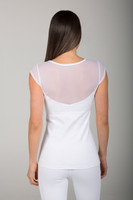 Mesh Plunge Back Shirt with Cap Sleeve in White back view