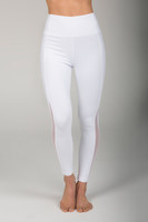 High Waist White Cutout Yoga Leggings front view