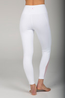 Pure White High Rise Yoga Tights with Side Detail back view