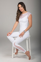 White Crescent Mesh Tight and Cap Sleeve Yoga Outfit