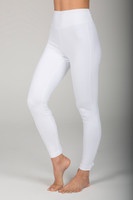 High Waist Compressive White Cut-Out Yoga Tights with Lace-Up Backs