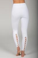 Corset Lace Detailing White Yoga Legging back view