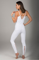 White Corset Yoga Legging and Tank Top Outfit
