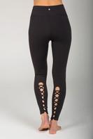 Black Lace-Up Detail Yoga Legging back view