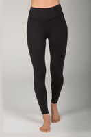 Elegant High Rise Corset Detail Black Yoga Leggings front view
