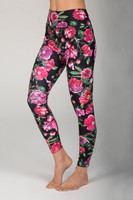 Ultra High Waist 7/8 Yoga Legging in Black Botanica