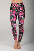 Pink & Black Floral High Waist Yoga Pants